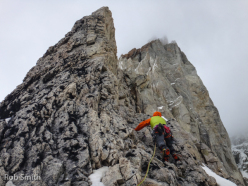 Colin Haley and Rob Smith during the first ascent of Romance Explosion (500m, 5.10R, M5R), Aguja Antipasto, Cerro San Lorenzo, Patagonia.