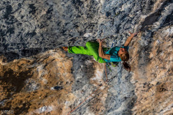 Mina Markovic climbing Mind Control at Oliana, Spain