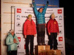 Kendra Stritch made history by becoming the first American to win a stage of the UIAA Ice Climbing World Tour