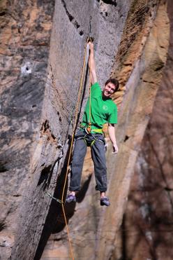 Stefano Ghisolfi sulla classica via Dogleg, Red River Gorge
