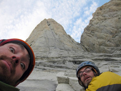Sean Villanueva and Ben Ditto get ready to climb the South African Route, Paine, Patagonia.