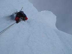 Ragni route, Cerro Torre: Francesco Salvaterra climbing up the summit mushroom