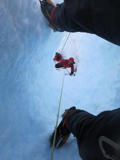 Ragni route, Cerro Torre: Max Lucco digging his way through the tunnel