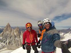 Ragni route, Cerro Torre: Massimo Lucco, Marcello Cominetti and Francesco Salvaterra on the summit