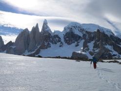 Ragni route, Cerro Torre: the return to Passo Marconi, with Cerro Torre in the background