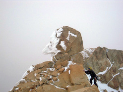 Reaching the summit of the Central Tower, Paine, Patagonia