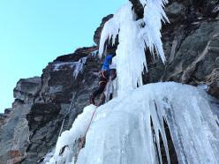Enrico Bonino climbing Exo-Ciuc (Valgrisenche, Saxe Savoie, Valle d'Aosta, Italy)