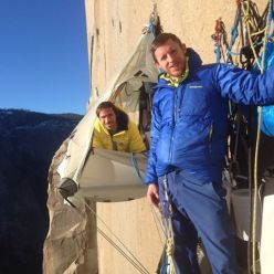 Kevin Jorgeson and Tommy Caldwell during the Dawn Wall push, El Capitan, Yosemite