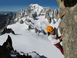 Alexander Huber free soloing the Dent de Geant, Mont Blanc, in 2006