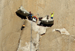 Tommy Caldwell and Kevin Jorgeson during their Dawn Wall push, El Capitan, Yosemite
