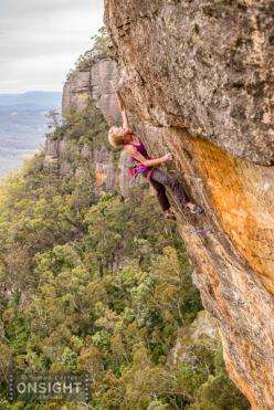 Monique Forestier tames Tiger Cat 8c in Australia's Blue Mountains