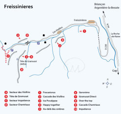 The map of the icefalls at Freissinières, Ecrins National Park, France