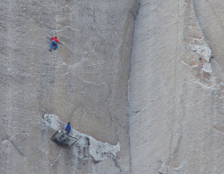 Tommy Caldwell, belayed by Kevin Jorgeson, starting up the 19th pitch of Dawn Wall, El Capitan, Yosemite