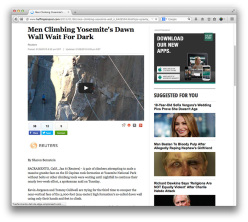 News coverage of Tommy Caldwell and Kevin Jorgeson during their Dawn Wall push, El Capitan, Yosemite