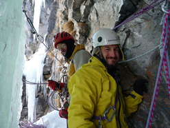 First belay on Buon compleanno (Gole di Gondo, Switzerland)
