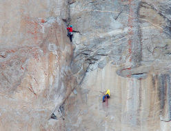 Tommy Caldwell and Kevin Jorgeson climbing the final pitches on Dawn Wall, El Capitan, Yosemite