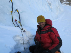 Daniele Nardi deposits gear at 5018m, Nanga Parbat (8126m) Karakorum