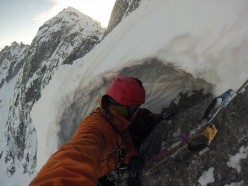 Tom Ballard during his winter ascent of the Cassin route on Pizzo Badile on 6 -7 January 2015.