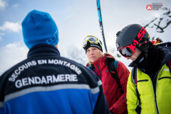 Safety first! Riders taking part in the mandatory Safety workshop at Chamonix during the Swatch Freeride World Tour 2015 by The North Face