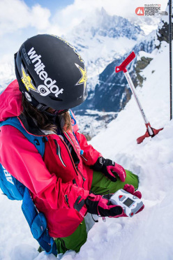 Safety first! Eva Walkner taking part in the mandatory Safety workshop at Chamonix during the Swatch Freeride World Tour 2015 by The North Face