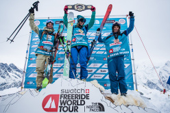 Podium of Ski Women in FWT15 Chamonix Mont-Blanc: Hargin Christine, Eva Walkner, Silvia Moser