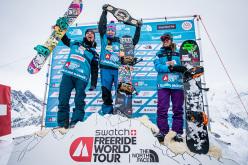 Podio femminle FWT15 Chamonix Mont-Blanc: Anne-Flore Marxer, Shannan Yates e Elodie Mouthon