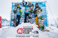 Podium of Snow Men in FWT15 Chamonix Mont-Blanc: Sascha Hamm, Sammy Luebke, Flo Orley