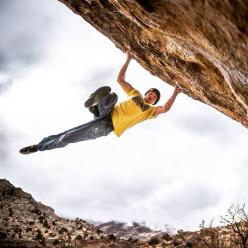 Alexander Megos bagging the third ascent of Lucid Dreaming 8C, Buttermilks, Bishop, USA