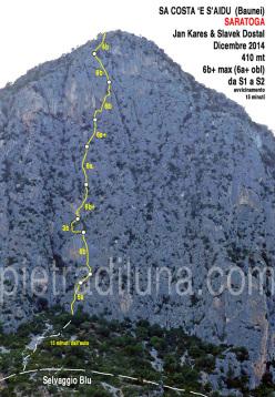 Saratoga (6b+, 410m, Slavek Dostal, Jan Kareš, 12/2014) Sa Costa 'e s'Aidu, Baunei, Sardegna