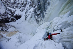 Will Gadd during the first ascent of the Hunlen Falls, Tweedsmuir Provincial Park, Canada. Gadd described the route as being