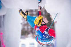 Maxim Tomilov winning the Ice Climbing World Championship 2015 at Corvara / Rabenstein