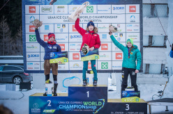 Women's podium of the Ice Climbing World Championship 2015: 2. Angelika Rainer 1. WoonSeon Shin 3. Petra Klinger