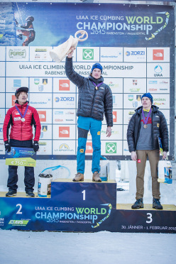 Men's podium of the Ice Climbing World Championship 2015: 2.  HeeYong Park 1. Maxim Tomilov 3. Alexey Tomilov