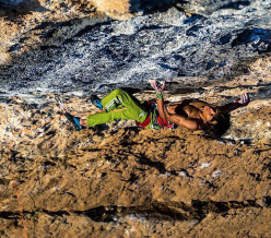 Sachi Amma climbing Fight or Flight 9b at Oliana, Spain. This is the fourth ascent after Chris Sharma, Adam Ondra and Jakob Schubert.