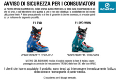 SCARPA® recalls F1 Evo and F1 Evo WMN from the market