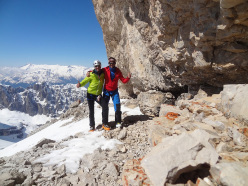 Alessandro Beber and Marco Maganzini during the descent of the South Face of Cima Brenta, Dolomites, spring 2014