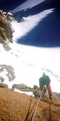 Climbing Pilier Gervasutti to reach Supercouloir on Mont Blanc du Tacu