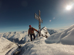 Tom Ballard on the summit of the Matterhorn on 10/02/2014 after having climbed the Schmidt route in 2 hours and 59 minutes.