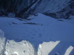 Tracce in uscita dalla classica Oppio-Colnaghi, parete Nord del Pizzo d'Uccello