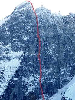 The route line of Katharsis (1100m, A4/M7) on the Trollveggen (Troll Wall) in Norway, climbed by Marek Raganowicz and Marcin Tomaszewski from 23/01 - 09/02/2015.