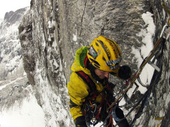 Marek Raganowicz and Marcin Tomaszewski during the first ascent of  Katharsis (1100m, A4/M7) Trollveggen Troll Wall, Norway