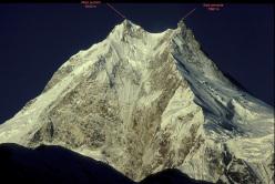 Manaslu main summit (8163m) and East Pinnacle (7992m), tha Simone Moro and Tamara Lunger plan to enchain in winter