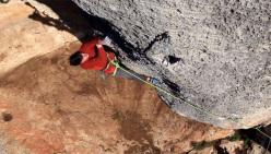 Stefano Carnati climbing Hyaena 8b/b+ at Finale