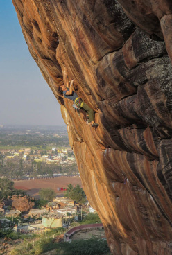 Nicolas Favresse making his trad ascent of Ganesh at Badami in India