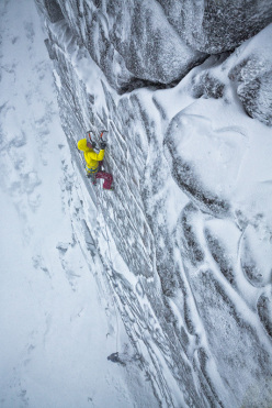 Ines Papert making the first female ascent of The Hurting XI 11 at Coire an t-Sneachda in Scotland.