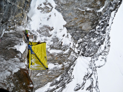 Hansjörg Auer in 2012 during the first ascent of The Music of Chance on the Kristallwand face, Kirchkogel, Austria