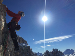Simon Gietl and Gerry Fiegl during their winter ascent of Waffenlos, Cima Scotoni, Dolomites