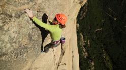 Stéphanie Bodet climbing Octogénèse in Corsica