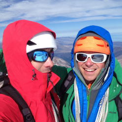 Alex Honnold and Colin Haley on the summit of Torre Egger, during a one day ascent of Torre Egger one week earlier.