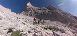 Iker Pou, Eneko Pou and their father approaching Picu Urriellu- Naranjo de Bulnes, Picos de Europa, Spain